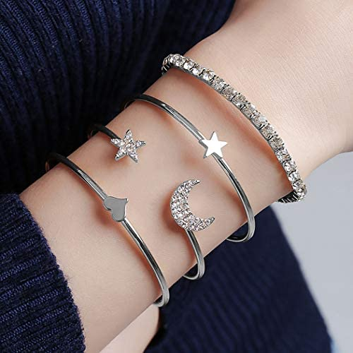 Funyrich Boho Stackable Bracelet Set Crystal Rhinestone Open Cuff Bangle Moon Star Bracelets product image