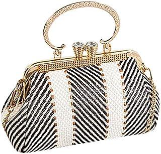 TOOGOO Vintage Fashion Kiss Lock Shell Bags Women Bag Chain Shoulder Crossbody Bag Women's Handbag Coffee with White