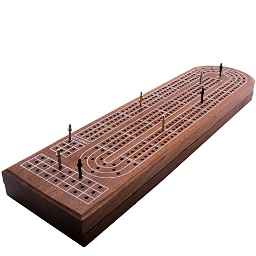Premium Cribbage Board Game by GrowUpSmart with 3-track classic Cribbage Board, free Playing Cards Deck, easy grip metal Cribbage Pegs, kids/adults Retro Wooden Board Set, hard wood+convenient storage