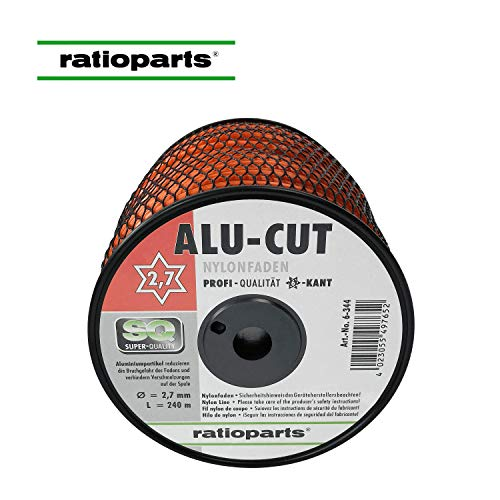 Ratioparts Nylonfaden 2,7 mm Alu-Cut 240 m Trimmerfaden Rund Orange Mähfaden