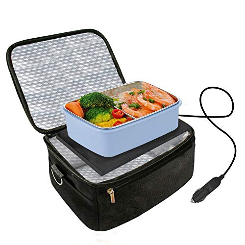 Car Food Warmer Portable 12V Personal Oven for Car Heat Lunch Box with Adjustable/Detachable shoulder strap, Using for Work/Picnic/Road Trip, Electric Slow Cooker for Food (Black)