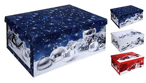 Spetebo 3er Set Aufbewahrungsbox in 3 Farben mit jeweils 45 Liter Inhalt - Box mit Weihnachtsmotive - Aufbewahrung Weihnachtsschmuck