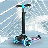 Patinete de Tres Ruedas para Niños de 3 a 10 Años, Luces LED Altura Ajustable Desde Plegable Freestyle Scooter para Niños de 2 a 10 Años