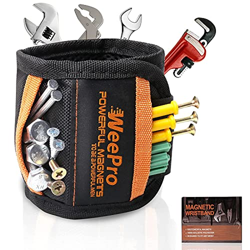 WeePro Magnetic Wristband For Holding Screws With 20 Strong Magnet, Wrist Magnetic Screw Holder, Magnetic Wristband For Holding Tools, Magnetic Bracelet For Screws, Magnetic Nail Holder, Gift For Men