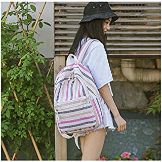 Leng QL Personality Backpacks Middle School Student Colorful Plaid Pattern Schoolbag Canvas Backpack