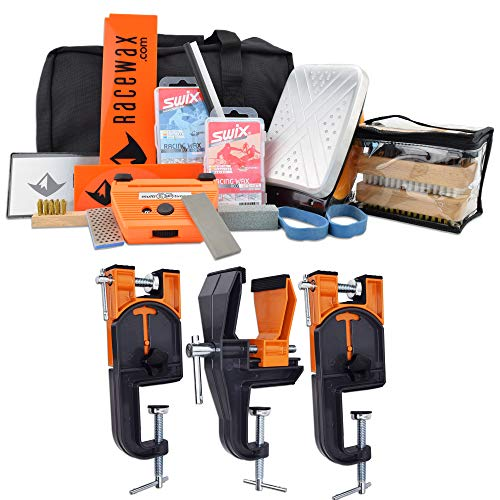 RaceWax Complete Ski Wax Tuning Kit Plus Ski Vise (Accepts Snowboard Adapter)