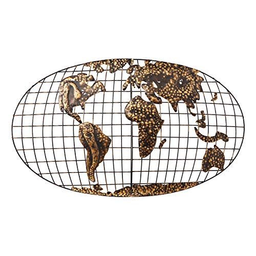 Home Decorators Collection Iron World Map Wall Art I, Iron, Brushed Gold