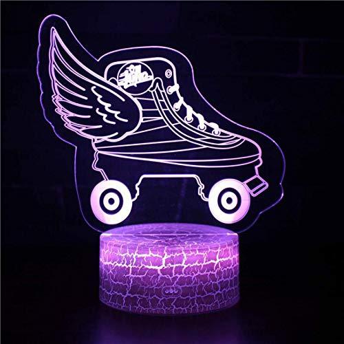 HHANN 3D Illusion Lampe Schöne Schlittschuhe 16 Farbwechsel- Und Dimmbaren Funktionen Nachttischlampe, Weihnachtsgeburtstagsgeschenke Für Mädchen Mann Kind