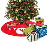 BELLE VOUS Falda Árbol de Navidad - Adorno Navidad Rojo 106 cm Atado con 2 Cintas en Moño- Falda Plegable para Árbol de Navidad Papá Noel, Muñeco de Nieve y Copo de Nieve - Decoración Navidad, Fiesta