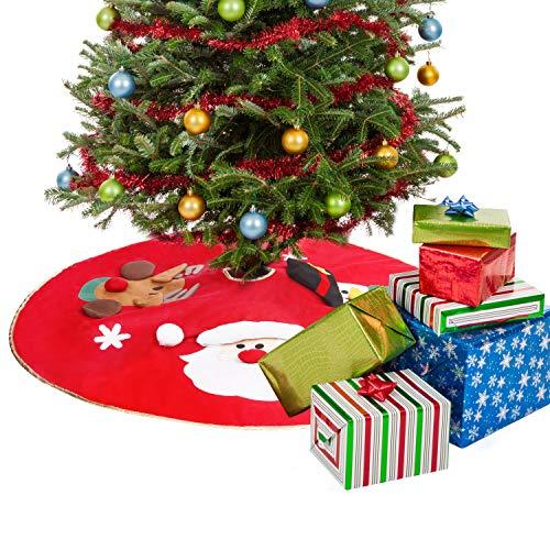 BELLE VOUS Weihnachtsbaum Rock 106cm rote Weihnachtsdeko Baumschmuck mit 2 Schleifenknoten befestigt - Faltbarer Baumrock Weihnachtsdeko mit Weihnachtsmann Schneemann Rentier & Schneeflocken Design