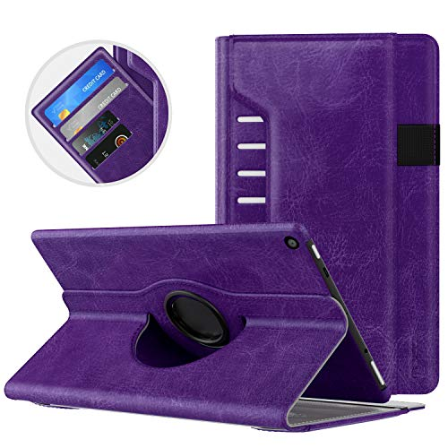 MoKo Case for All-New Fire HD 10 Tablet (7th Generation/9th Generation, 2017/2019 Release) - 360 Degree Rotating Swivel Stand Cover with Auto Wake / Sleep for Fire, Purple
