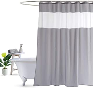 XXT Shower Curtain with Mesh Window 72 x 72 Inch, Waterproof Quick Drying Polyester Fabric Bath Curtain with Reinforced Top Holes and 12 Hooks (Light Grey)