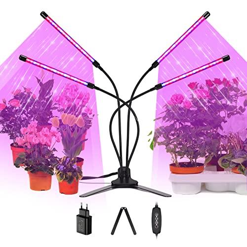 Koicaxy Pflanzenlampe für Zimmerpflanzen, Vollspektrum Grow Lampe mit EU-Netzteil und Stabilisator, 3 Modi & 10 Dimmstufen Pflanzenleuchte Wachstumslampe Wachsen licht mit Zeitschaltuhr
