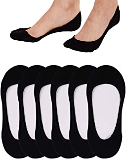 QING 4 to 8 Pairs Ultra Low Cut No Show Socks Women Invisible for Flats and Dress Shoes Liner Socks with Non-Slip Heel Grips