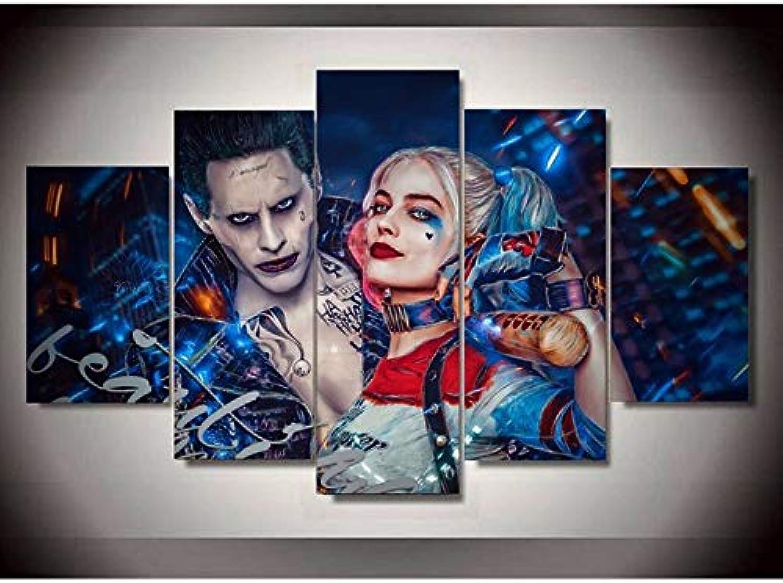 ZEMER 5 Panel Leinwanddrucke Suicide Squad Joke Mit Mit Mit Harley Quinn Bild Kunst HD Kunstwerke Moderne Home Wall Decor,Noframe,L B07J4QM7R9 23cdc4