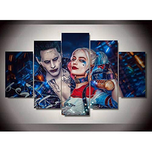 ZEMER 5 Panel Leinwanddrucke Suicide Squad Joke Mit Harley Quinn Bild Kunst HD Kunstwerke Moderne Home Wall Decor,Noframe,L