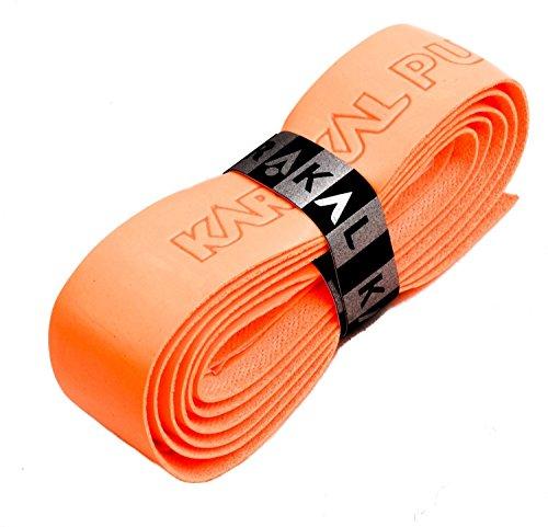 Karakal, Griffband / Griff-Tape, selbstklebend, für Badminton / Squash / Tennis / Hockey / Curling, Polyurethan, ausgezeichnete Griffigkeit, Fluoreszierendes Orange, 4 Grips