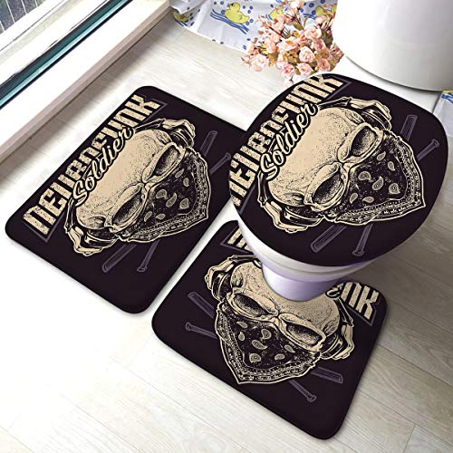 Kkyoxdiy Bath Mat 3 Piece Set Absorbent Carpet Soldier Skull Bandana Headphones Baseball Bats Grunge Memory Foam Mat Set Matches Anti-Skid Absorbent Toilet Seat Cover Bath Mat Lid