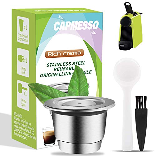 CAPMESSO Espresso Refillable Capsules Reusable Nespresso Pod Espresso Coffee Pod Stainless Steel Capsules Compatible with Nespresso OriginalLine Brewers (1 pod set)