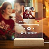 Custom Spotify Glass Art Night Light Personalized Scannable Spotify Code Photo Plaque Light Acrylic Song Plaque Night Light Music Sign Gift for Lover Friends - Can Upload Photo, Music & Singer Name