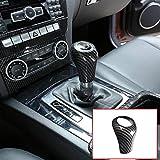 LLKUANG Carbon Fiber Style Gear Shift Knob Head Cover for Mercedes Benz C Class 2004-2013,E Class 2006-2012,W203 W204 S204 W211 W212