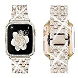 Supoix Compatible with Apple Watch Band 40mm+ Case, Women Jewelry Bling Diamond Metal Strap & Soft PC Bumper Protective Case for iWatch Series 6/5/4 SE(Champange)