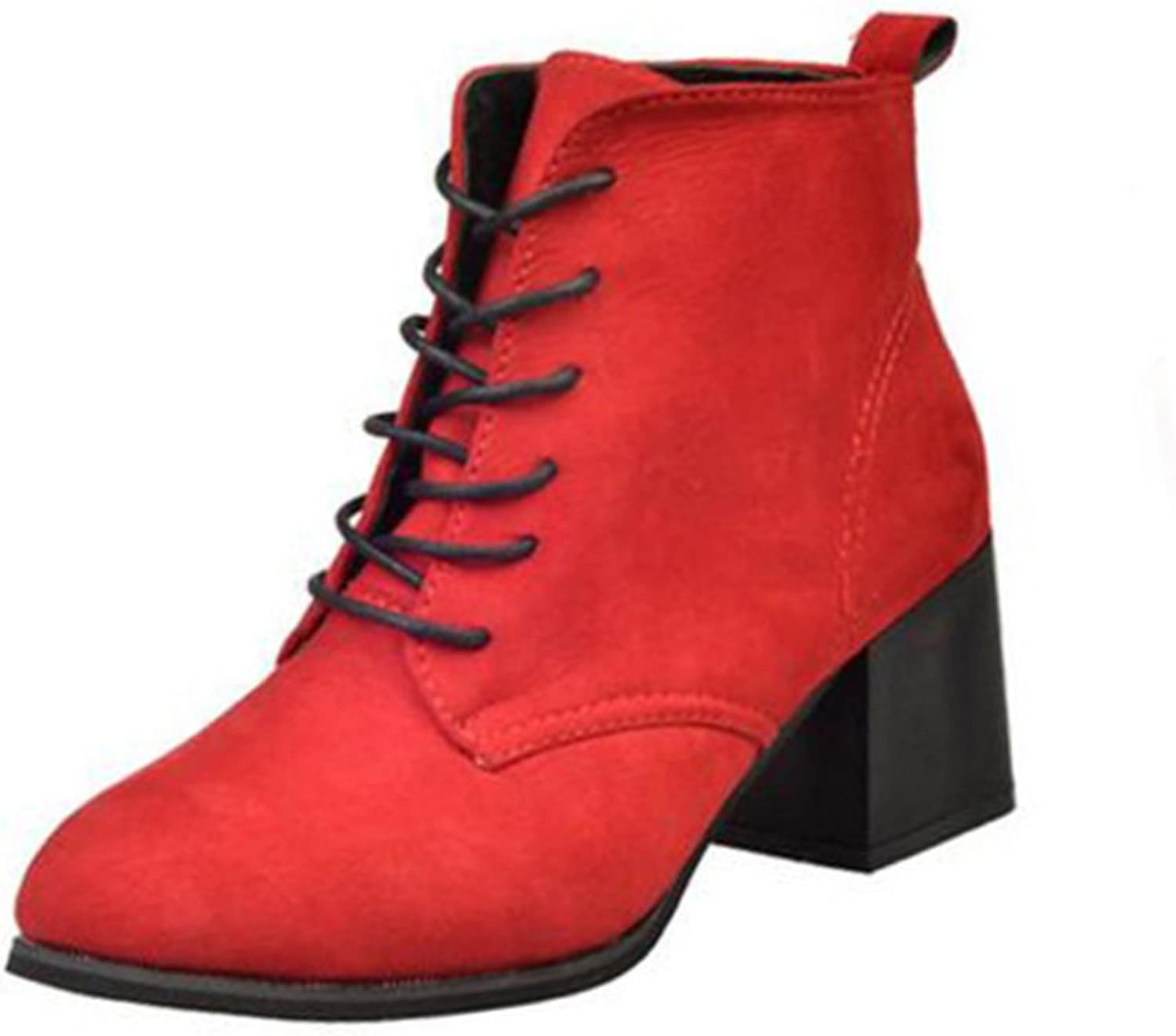 Huhuj Martin boots England wind boots women's boots for fall winter Thick lacing boots in Europe and America Nude boots High heel shoes