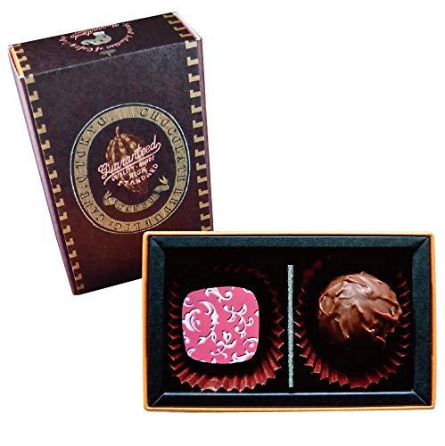 カフェック プラリネチョコレート2種(2粒)ギフト/ベーシックブラウンボックス/トリュフチョコレート (キルシュ&ブランデーミルク)
