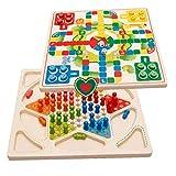 2 En 1 Set Tabla De Madera, Tablero De Damas Chinas Juegos De Mesa para Los Niños Adultos De La Familia Puzzle Suministros
