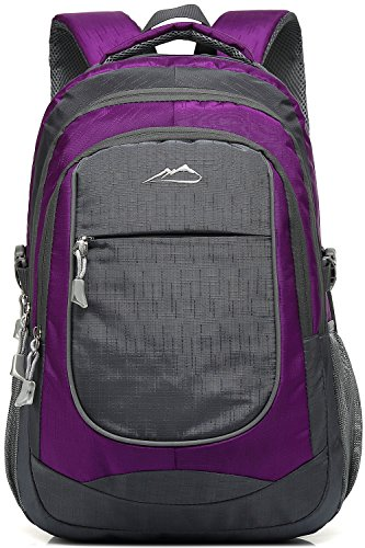 Backpack Bookbag for School College Student Sturdy Travel Business Hiking Fit Laptop Up to 15.6 Inch Multi Compartment Night Light Reflective (Purple A)