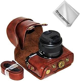 FIRST2SAVVV ダークブラウン キヤノン Canon EOS M100 with (15-45mm Lens) 専用 PU レザー レフ カメラバッグ カメラケース XJD-EOS M100-10