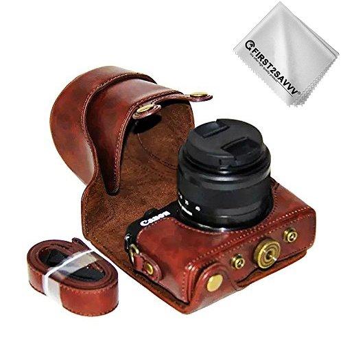 First2savvv marron oscuro Calidad premium Funda Cámara cuero de la PU cámara digital bolsa caso cubierta con correa para Canon EOS M100 EOS M10 con lente de 15-45 mm XJD-EOS M100-10G11