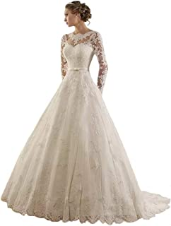 Women's Jewel Lace Applique Long Sleeve Chapel Wedding Dress