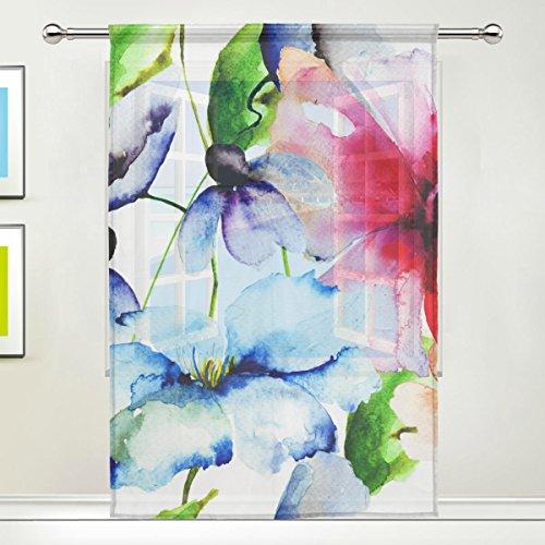 Jstel belles Fleurs aquarelle Motif imprimé floral Tulle Voile Porte Fenêtre Chambre Rideau Sheer drapé 1 panneau Écharpe Cantonnière Large Largeur Gaze Rideau pour chambre à coucher 139,7 x 198,1 cm, Single Pan, Polyester, 55 x 78 Inch