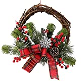 An baby123 La Cinta Rota Garland Decoración de Navidad Garland Ronda nórdica Rattan día de Navidad de Ventanas de PVC Apoyos Hechos a Mano Material de la Guirnalda de Pastoral 35cm Estilo