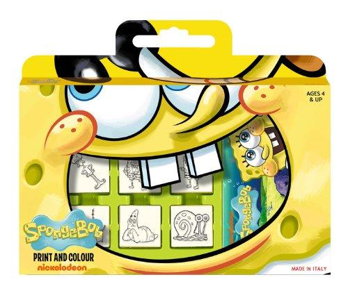 Multiprint Valija 7 Sellos para Niños Spongebob, 100% Made in Italy, Set Sellos Niños Persolanizados, en Madera y Caucho Natural, Tinta Lavable no Tóxica, Idea de Regalo, Art.07862