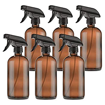 Empty Amber Glass Spray Bottles with Labels  6 Pack  - 16oz Refillable Container for Essential Oils Cleaning Products by THETIS Homes