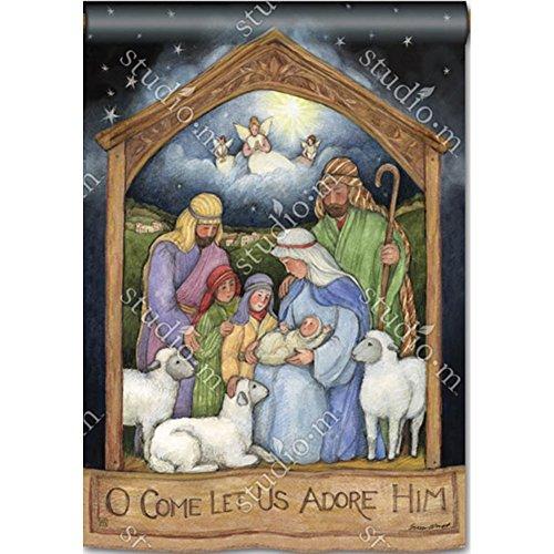 Bandera de Navidad para casa con la Sagrada Familia y Jesús niño, motivos religiosos, 71 x 101 cm