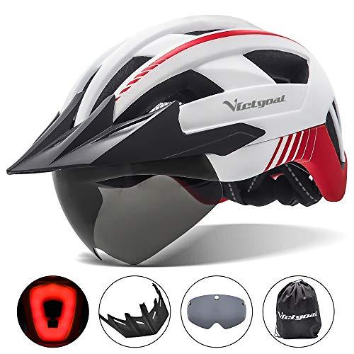 VICTGOAL Casco Bici Casco MTB Uomo con Luce LED, Occhiali Protettivi Magnetici, Visiera Traspirante, Casco da Mountain Bike per Unisex Caschi da Bicicletta Regolabili (Bianca)