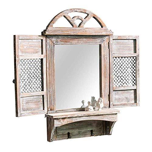 FYYONG Espejos de decoración de la Pared del Estante de Madera del Marco Espejo colgado Estilo Elegante rústico for Sala de Estar, el Dormitorio o Granja