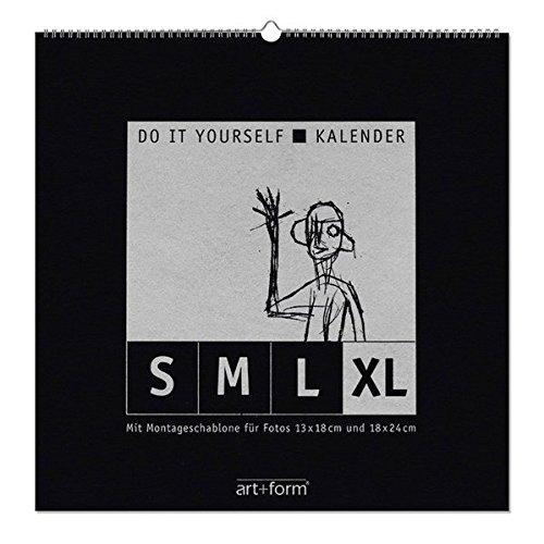 DO IT YOURSELF-KALENDER XL Schwarz (48x48cm): Kalendarium in einer Zeile mit Montageschablone für Fotos 20x30 und 30x40 cm, als Dauer- und Jahreskalender verwendbar