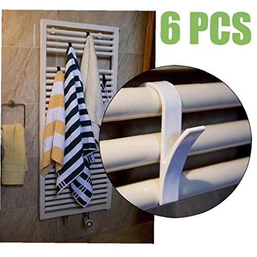 Angoter Percha 6PCS toallero radiador de Tren de Bath sostenedor del Gancho de la suspensión de Ropa Percha Percha Plegable Bufanda Blanca
