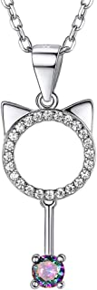 U7 Cute Cat Necklace 18K Gold/Platinum Plated Chain Girls Animal Pendants Charm Necklaces