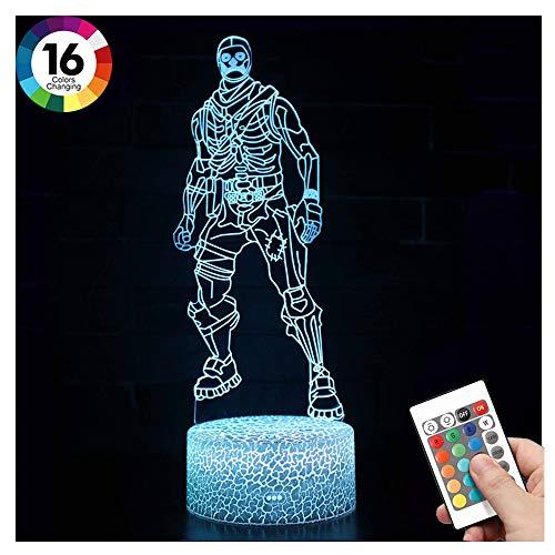 WYY 3D nachtlampje, optische illusie nachtlampje 16 kleuren lamp LED verwisselbare touch schakelaar afstandsbediening USB power nachtkastje ideeën geschenken voor liefhebbers van het spel