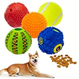 KOOLTAIL 5 Packs Interactive Dog Squeaky Ball Toys, Tennis Ball Toy, Food Treat Dispensing Toys, Rubber Puzzle Toy, for Small Medium Large Dogs