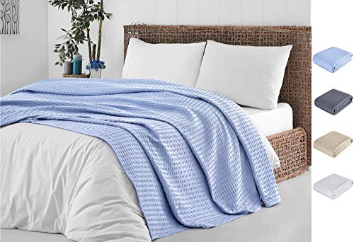 Cotton Blanket King Blue |%100 Turkish Premium Soft Breathable Cotton | Thermal King Size Blanket | Perfect for Layering Any Bed for Summer - Winter | Cotton Blankets King Size - Bed Throw Blanket