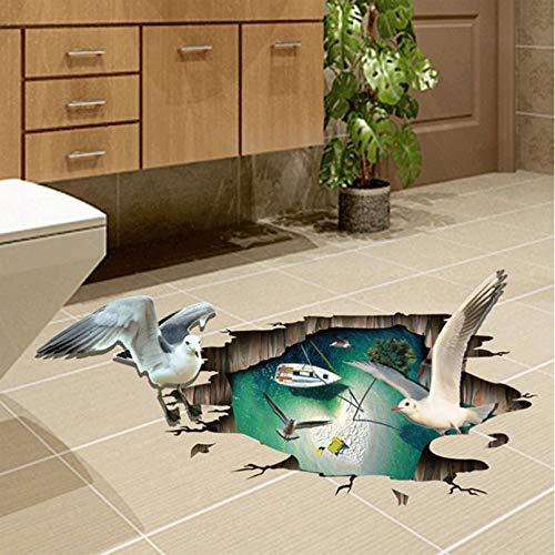 Pegatinas de suelo de gaviota 3D pegatinas de pared para habitación de niños decoración del hogar calcomanías de pared de sala de estar decoración del hogar baño