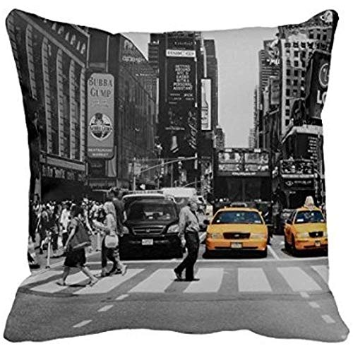 Dana34Malory Housse de coussin de taxi pour salon Motif New York Noir et blanc 40,6 x 40,6 cm