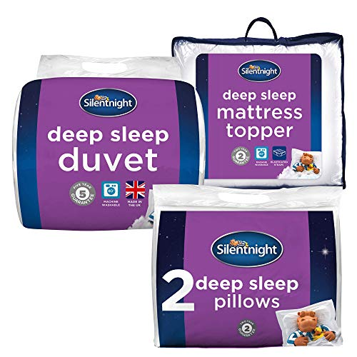 Silentnight Deep Sleep Bed Bundle - x2 Pillows, 10.5 Tog Duvet & Mattress Topper, Single