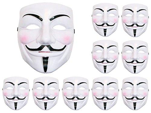 Alsino 10 Stück V wie Vendetta Maske Anonymous Maske Fawkes Anonymous Occupy Karneval